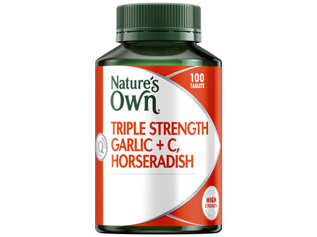 Nature's Own Triple Strength Garlic + C, Horseradish 100 Tablets