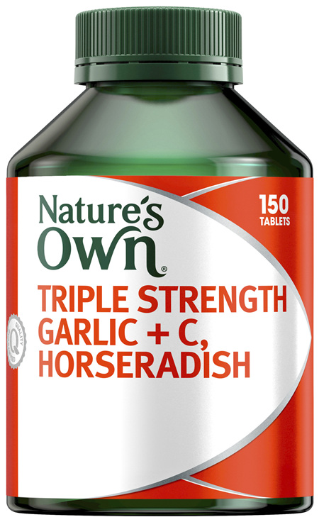 Nature's Own Triple Strength Garlic + C, Horseradish