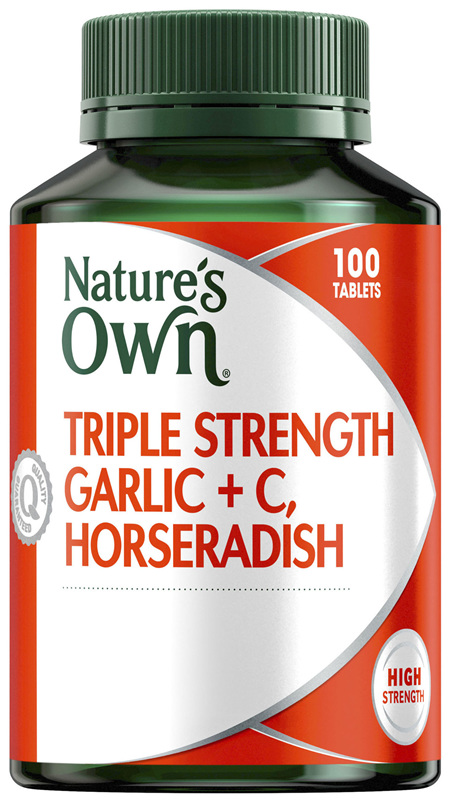 Nature's Own Triple Strength Garlic, Horseradish + C, Horseradish