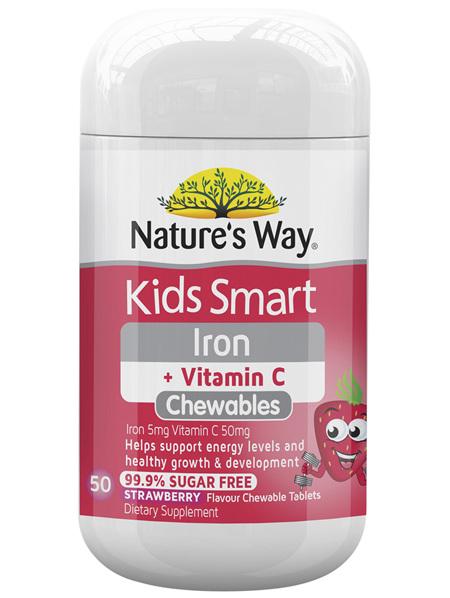 Nature's Way Kids Smart Iron + Vitamin C 50 Tablets