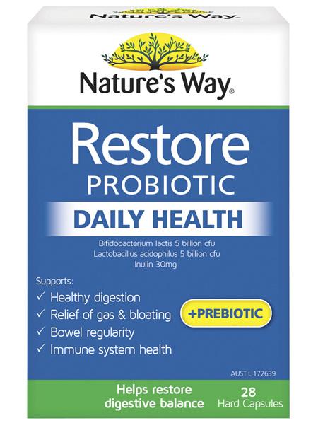 Nature's Way Restore Probiotic Daily Health 28 Capsules