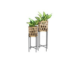 Navah Bamboo Planter On Metal Stand - 76cmh