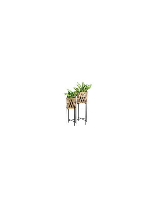 Navah Bamboo Planter On Metal Stand - 76cmh