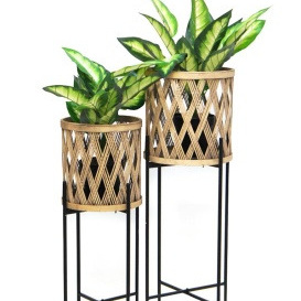 Navah Bamboo Planter On Metal Stand - 92cmh