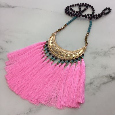 Navajo Tassel Necklace - Candy