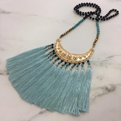 Navajo Tassel Necklace - Mint