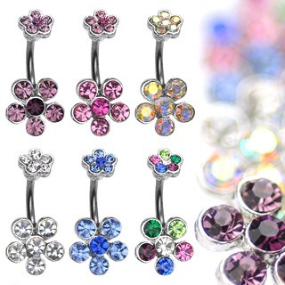 Navel Ring w/ Double 6-Gem Flower