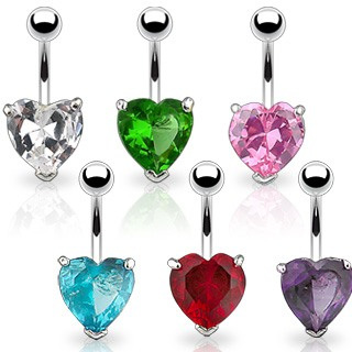 Navel Ring w/ Prongset Large 10mm Heart CZ