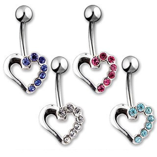 Navel Ring w/ Silver Hollow Heart/CZ