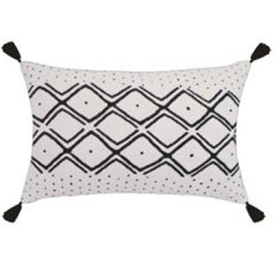 Neha Cushion W Tassels - Black/White 35x55cm