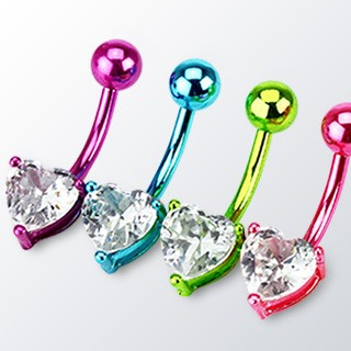 Neon Plated Heart Prong Set Navel