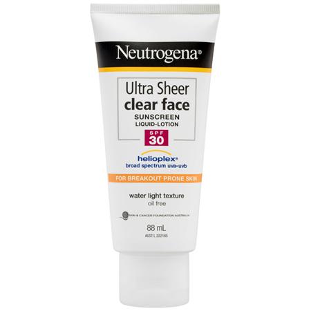 Neutrogena Ultra Sheer Clear Face Sunscreen Liquid Lotion SPF 30 88mL