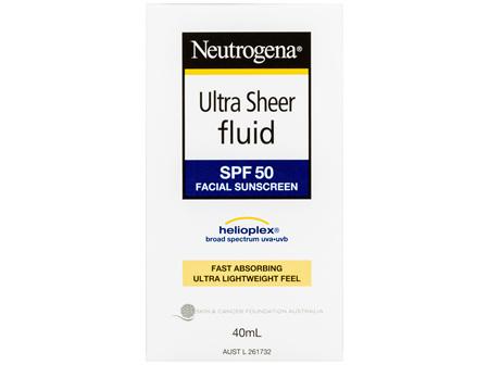 Neutrogena Ultra Sheer Fluid Face Sunscreen SPF 50 40mL