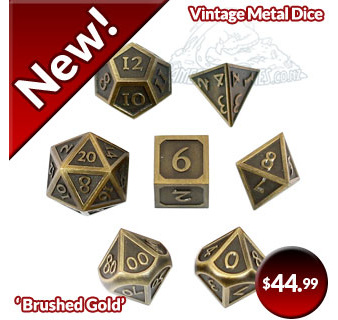 New 7 'Brushed Gold' Vintage' Metal Dice