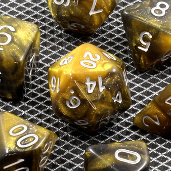 New Black and Gold with Silver Stardust Polyhedral Dice Games and Hobbies NZ