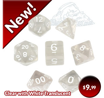 New Black and Pink with White Fusion Polyhedral Dice