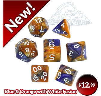 New Blue and Orange Fusion Polyhedral Dice