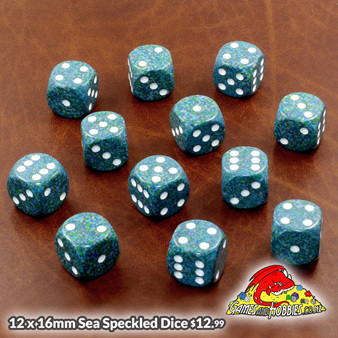 New Dice 12 x 16mm Sea Speckled 6 sided Dice