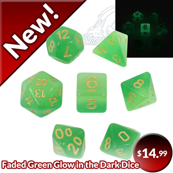 New Faded Green Glow in the Dark Dice Games and Hobbies NZ