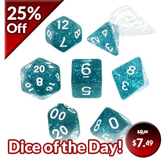 New Teal Glitter Dice