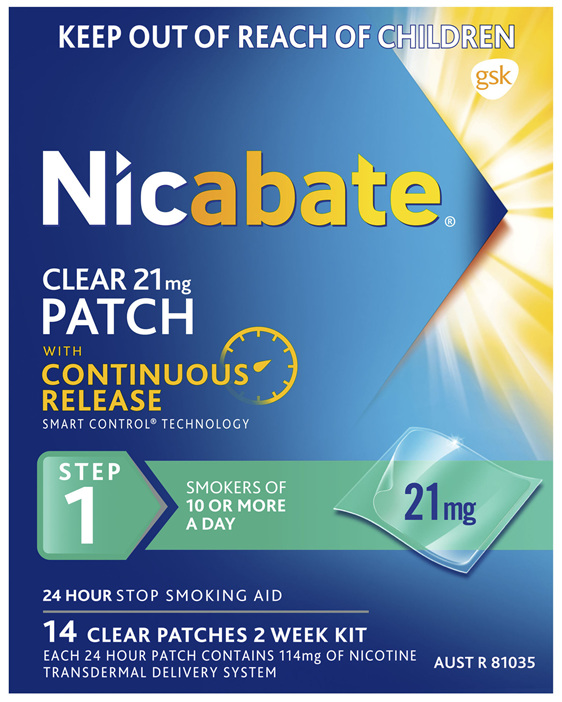 Nicabate Clear Patch Quit Smoking Step 1 21mg 14 Patches