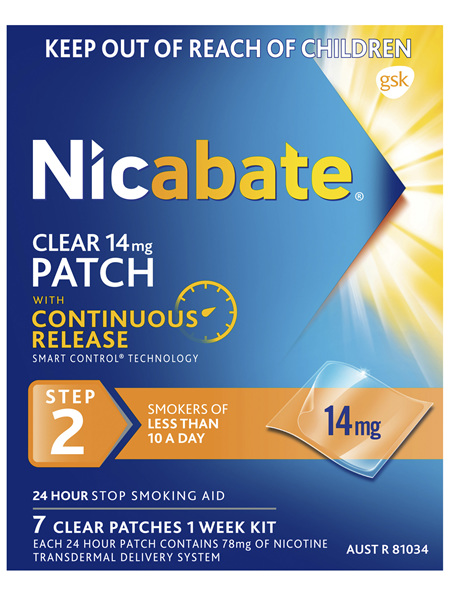 Nicabate Clear Patch Quit Smoking Step 2 14mg 7 Patches