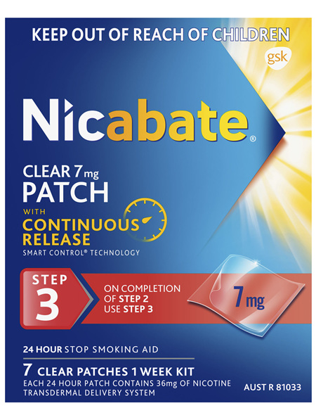 Nicabate Clear Patch Quit Smoking Step 3 7mg, 7 Pack
