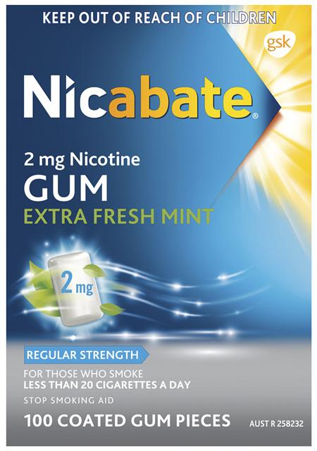 Nicabate Extra Fresh Mint Gum Quit Smoking 2 mg, 100 pieces