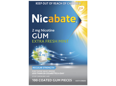 Nicabate Extra Fresh Mint Gum Quit Smoking 2 mg, 100 pieces