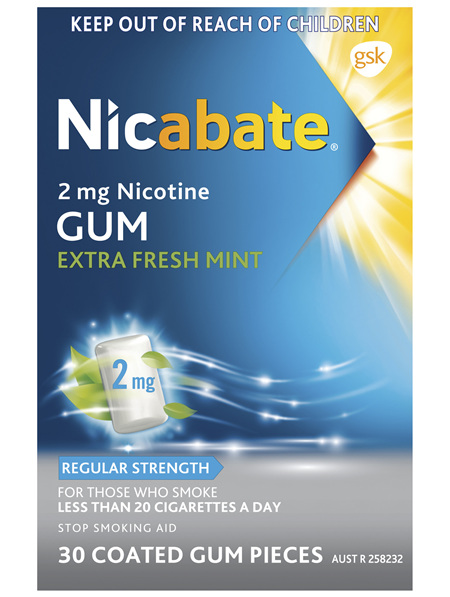 Nicabate Extra Fresh Mint Gum Quit Smoking 2 mg, 30 pieces