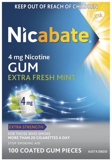 Nicabate Extra Fresh Mint Gum Quit Smoking 4 mg, 100 pieces