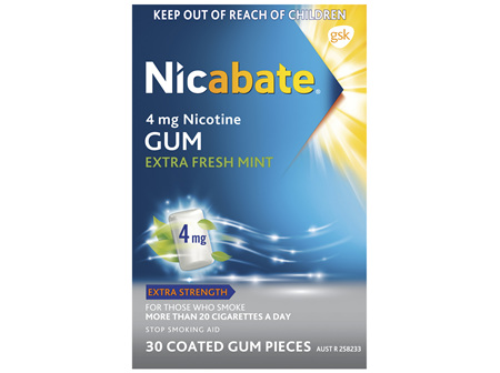 Nicabate Extra Fresh Mint Gum Quit Smoking 4 mg, 30 pieces