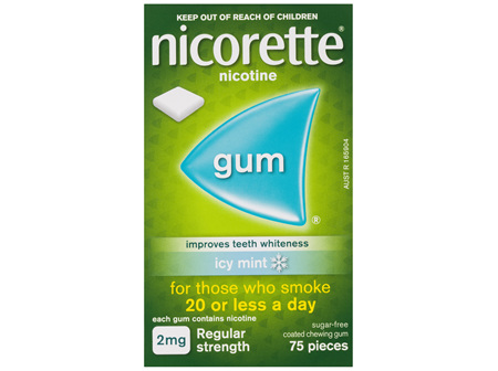 Nicorette Nicotine Gum Icy Mint 2mg Regular Strength 75 Pack
