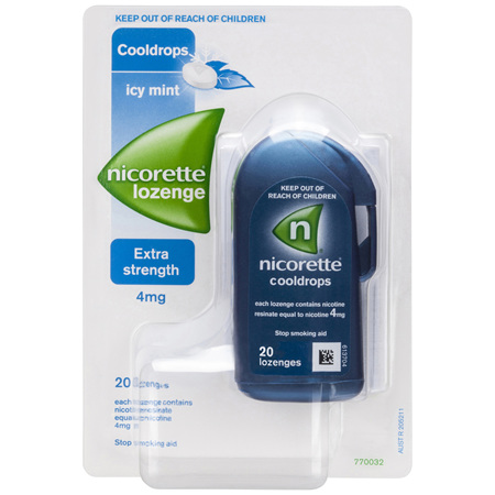 Nicorette Quick Smoking Nicotine Lozenge Cooldrops Nicotine Extra Strength Icy Mint 20 Pack