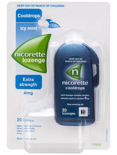 Nicorette Quick Smoking Nicotine Lozenge Cooldrops Nicotine Extra Strength Icy Mint 20 Pack