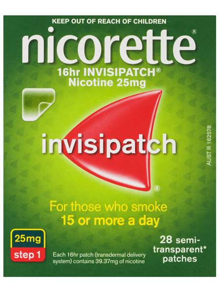 Nicorette Quit Smoking 16hr Invisipatch Step 1 25mg 28 Pack