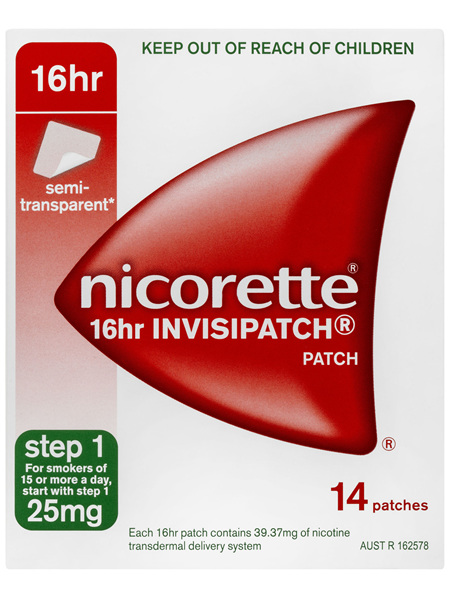 Nicorette Quit Smoking 16hr Invisipatch Step 1 25mg 14 Pack