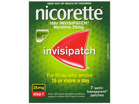 Nicorette Quit Smoking 16hr Invisipatch Step 1 25mg 7 Pack