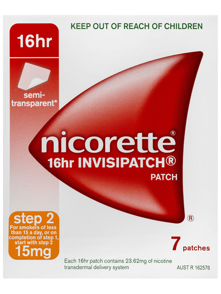 Nicorette Quit Smoking 16hr Invisipatch Step 2 15mg 7 Pack