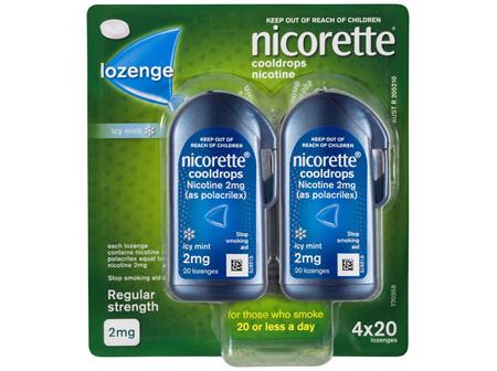 Nicorette Quit Smoking Cooldrops Lozenge Icy Mint Regular Strength 4 x 20 Pack