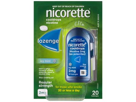 Nicorette Quit Smoking Cooldrops Lozenge Icy Mint Regular Strength 20 Pack