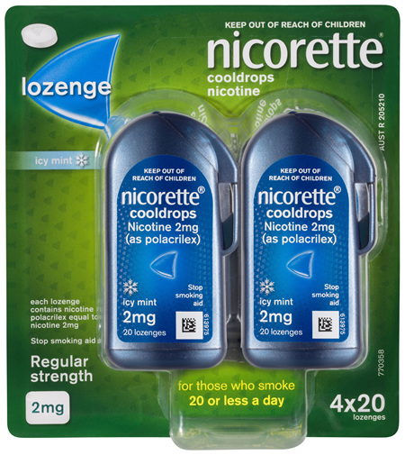 Nicorette Quit Smoking Cooldrops Lozenge Icy Mint Regular Strength 4 x 20 Pack