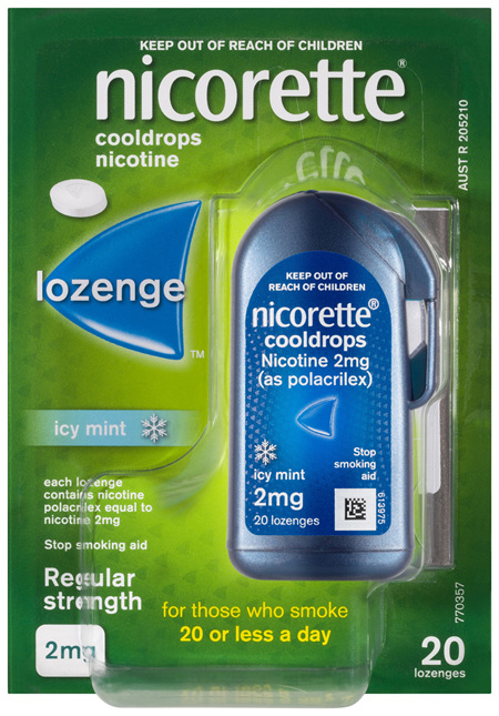 Nicorette Quit Smoking Cooldrops Lozenge Icy Mint Regular Strength 20 Pack