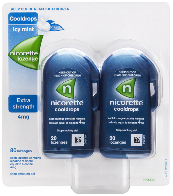 Nicorette Quit Smoking Cooldrops Lozenge Icy Mint Extra Strength 4 x 20 Pack