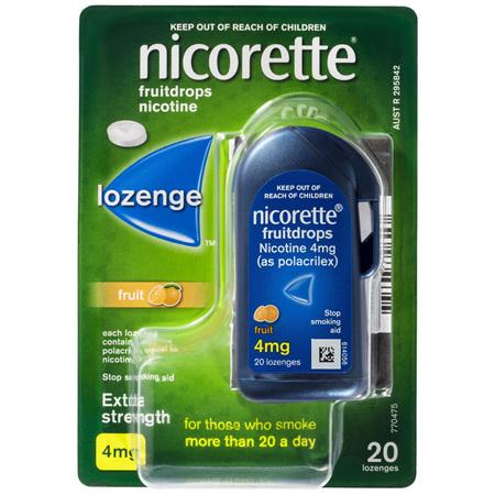 Nicorette Quit Smoking Fruitdrops Lozenge Extra Strength 20 Pack