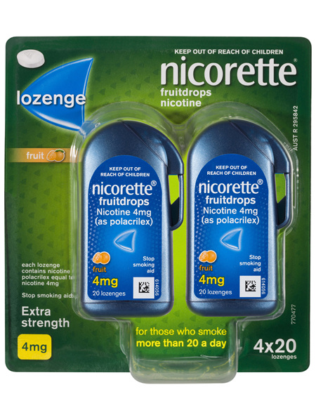 Nicorette Quit Smoking Fruitdrops Lozenge Extra Strength 4 x 20 Pack