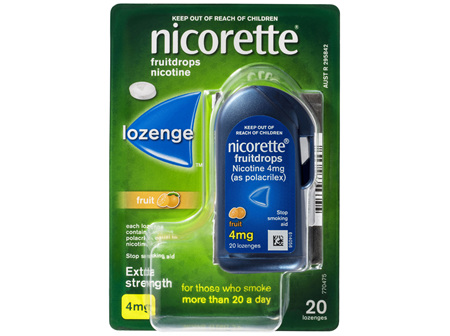 Nicorette Quit Smoking Fruitdrops Lozenge Extra Strength 20 Pack