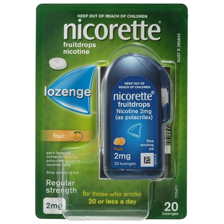 Nicorette Quit Smoking Fruitdrops Lozenge Regular Strength 2mg 20 Pack