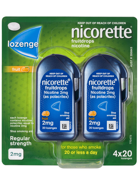 Nicorette Quit Smoking Fruitdrops Lozenge Regular Strength 4 x 20 Pack