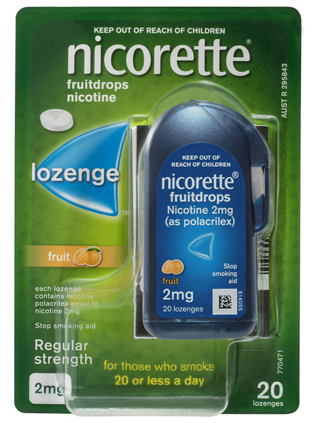 Nicorette Quit Smoking Fruitdrops Lozenge Regular Strength 2mg 20 Pack